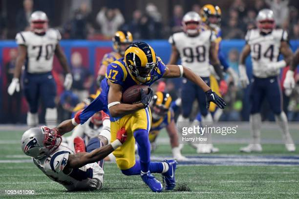 Robert Woods of the Los Angeles Rams makes a catch in the third quarter during Super Bowl LIII against the New England Patriots at Mercedes-Benz...