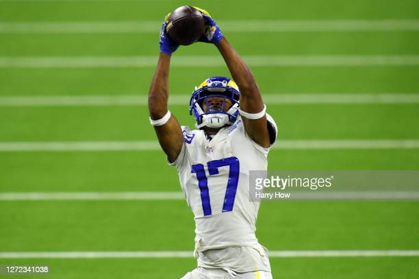 Robert Woods of the Los Angeles Rams makes a reception during the third quarter against the Dallas Cowboys at SoFi Stadium on September 13, 2020 in...