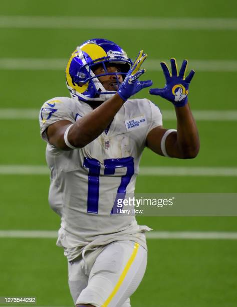Robert Woods of the Los Angeles Rams prepares to make a catch in a 20-17 win over the Dallas Cowboys at SoFi Stadium on September 13, 2020 in...