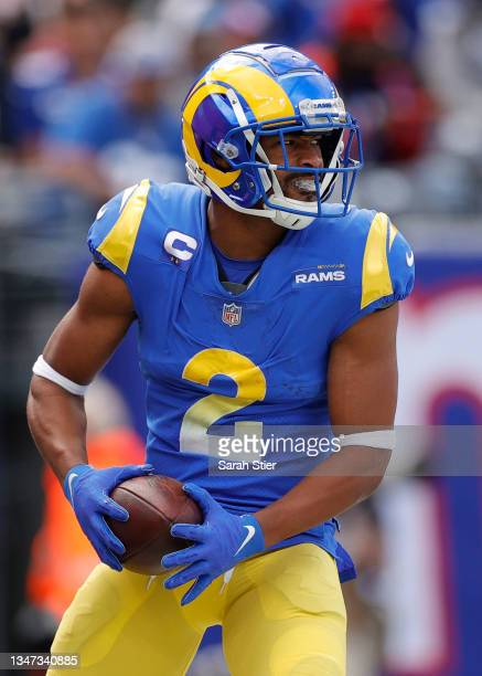 Robert Woods of the Los Angeles Rams reacts after scoring a touchdown during the first half against the New York Giants at MetLife Stadium on October...