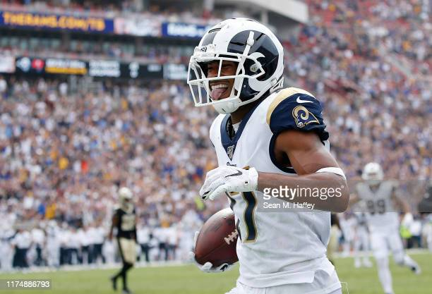 Robert Woods of the Los Angeles Rams reacts as he scores a touchdown that was nullified due to an illegal block during the second quarter against the...