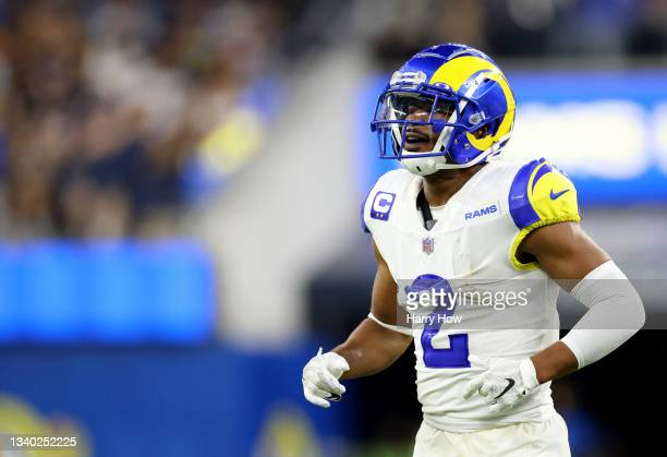 Robert Woods of the Los Angeles Rams reacts during a 34-14 win over the Chicago Bears at SoFi Stadium on September 12, 2021 in Inglewood, California.