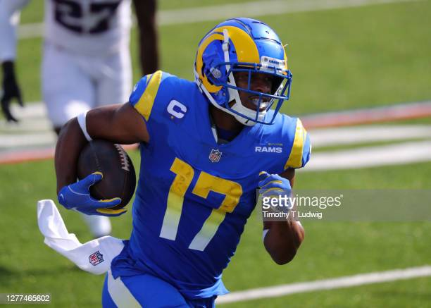 Robert Woods of the Los Angeles Rams runs the ball after a catch against the Buffalo Bills at Bills Stadium on September 27, 2020 in Orchard Park,...