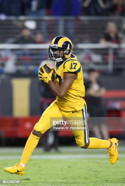Robert Woods of the Los Angeles Rams runs with the ball after catching a pass against the San Francisco 49ers during their NFL football game at...