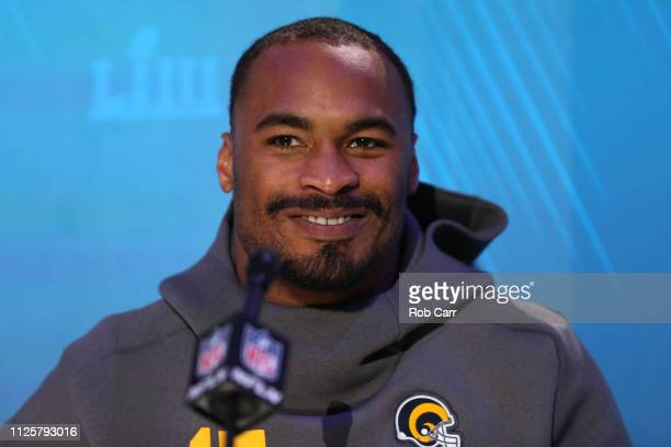 Robert Woods of the Los Angeles Rams talks to the media during Super Bowl LIII Opening Night at State Farm Arena on January 28, 2019 in Atlanta,...