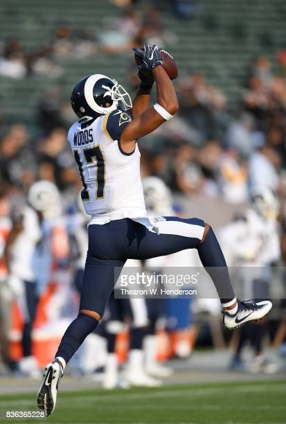 Robert Woods of the Los Angeles Rams warms up during pregame warm ups prior to playing the Oakland Raiders in an NFL preseason football game at...