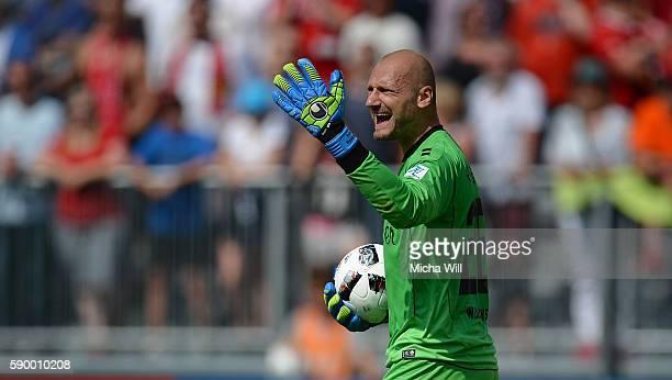 Robert Wulnikowski goalkeeper of Wuerzburg reacts during the Second Bundesliga match between FC Wuerzburger Kickers and 1 FC Kaiserslautern at...