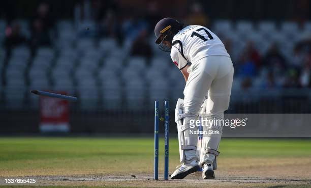 Robert Yates of Warwickshire is bowled by Saqib Mahmood of Lancashire during the LV= Insurance County Championship match between Lancashire and...