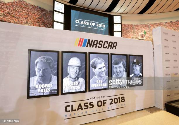 Robert Yates Red Byron Ray Evernham Ken Squire and Ron Hornaday Jr are announced to the Hall of Fame during the NASCAR Hall of Fame Voting Day at...