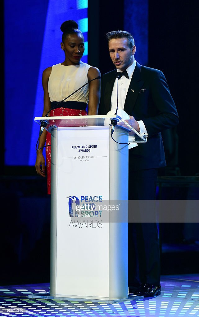 Robert Young, Extreme Endurance Runner addresses the audience after receiving the award for Champion of the Year during the Peace & Sport Gala Dinner at the Sporting Club on November 26, 2015 in Monaco, Monaco.