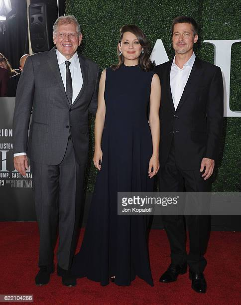 Robert Zemeckis Marion Cotillard and Brad Pitt arrive at the fan event for Paramount Pictures' 'Allied' at Regency Village Theatre on November 9 2016...