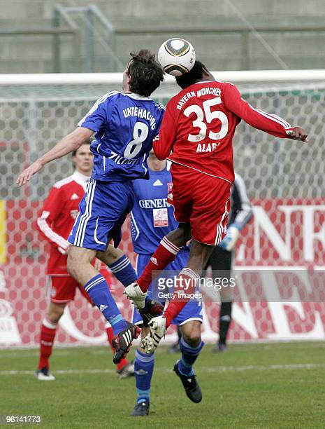 Robert Zillner of Unterhaching and David Alaba of Bayern II battle for the ball during the 3Liga match between SpVgg Unterhaching and Bayern Muenchen...