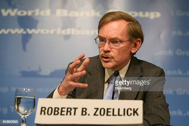 Robert Zoellick president of the World Bank speaks during a news conference in Washington DC US on Thursday April 10 2008 The World Bank and the...