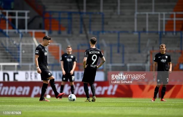 Robert Zulj and Simon Zoller of Bochum kick off the Second Bundesliga match between VfL Bochum 1848 and 1. FC Heidenheim 1846 at Vonovia Ruhrstadion...