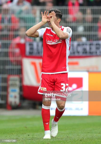 Robert Zulj of FC Union Berlin celebrates as he scores his team's first goal during the Second Bundesliga match between 1 FC Union Berlin and...