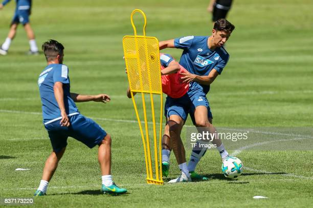 Robert Zulj of Hoffenheim and Justin Hoogma of Hoffenheim battle for the ball during the Training Camp of TSG 1899 Hoffenheim on July 16 2017 in...
