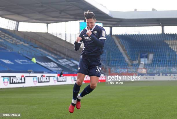 Robert Zulj of VfL Bochum 1848 celebrates after scoring his team's first goal during the Second Bundesliga match between VfL Bochum 1848 and FC...