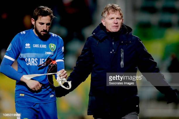 Robert Zwinkels of ADO Den Haag is leaving the pitch after receiving a red card coach Alfons Groenendijk of ADO Den Haag during the Dutch Eredivisie...