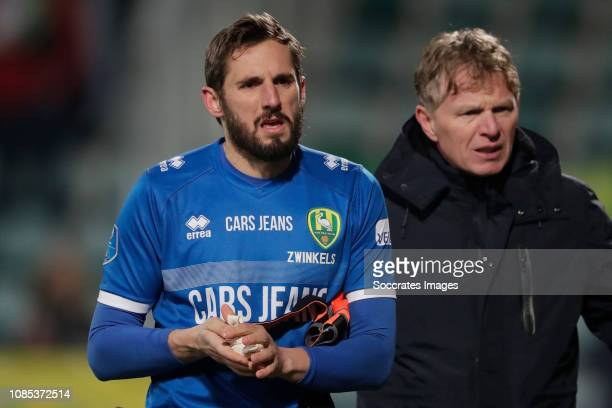 Robert Zwinkels of ADO Den Haag leaves the pitch after a review of the VAR coach Alfons Groenendijk of ADO Den Haag during the Dutch Eredivisie match...