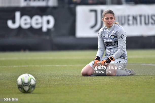 Roberta Aprile of Internazionale FC reacts during the Women Serie A match between Juventus and FC Internazionale on February 16, 2020 in Vinovo,...