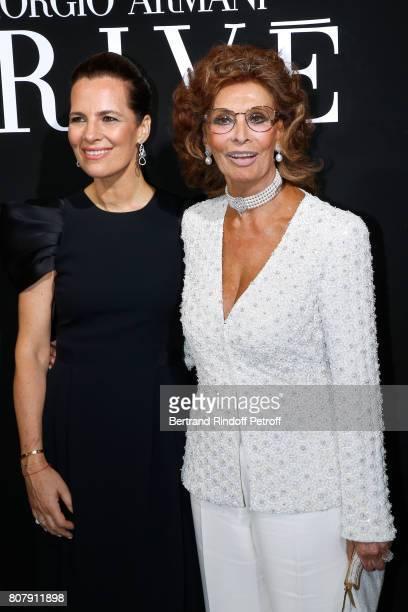 Roberta Armani and actress Sophia Loren attend the Giorgio Armani Prive Haute Couture Fall/Winter 20172018 show as part of Haute Couture Paris...