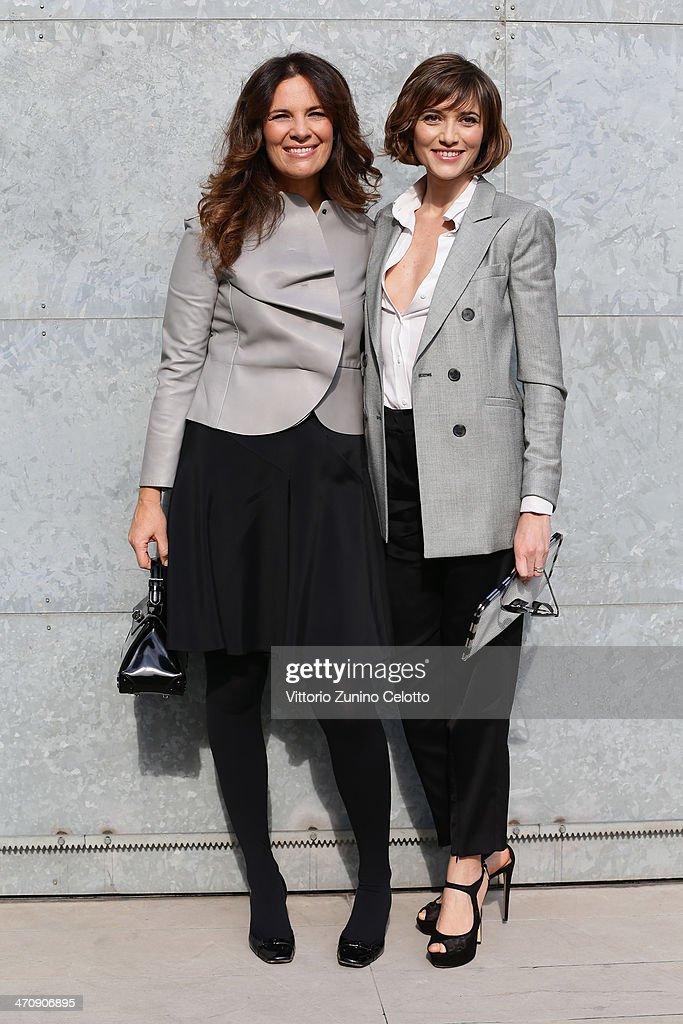 Roberta Armani and Anna Foglietta attend the Emporio Armani show as part of Milan Fashion Week Womenswear Autumn/Winter 2014 on February 21, 2014 in Milan, Italy.