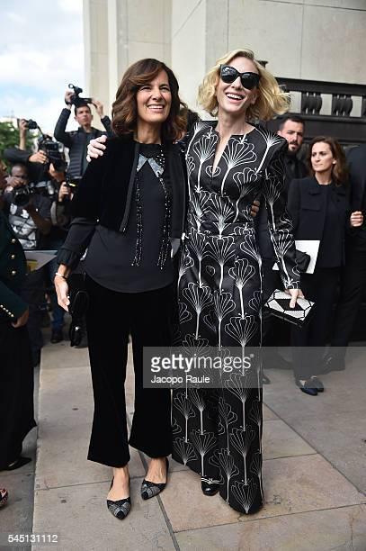 Roberta Armani and Cate Blanchett are seen arriving at Armani Prive Fashion show during Paris Fashion Week Haute Couture F/W 20162017 on July 5 2016...