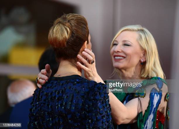 Roberta Armani and Cate Blanchett walks the red carpet ahead of closing ceremony at the 77th Venice Film Festival on September 12, 2020 in Venice,...