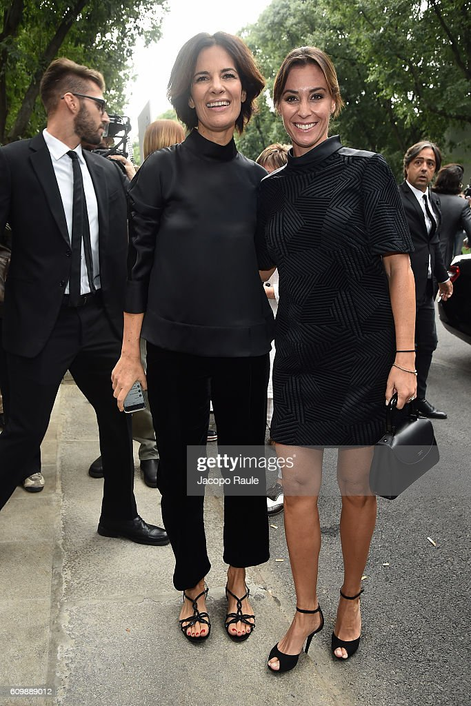 Roberta Armani and Flavia Pennetta arrive at the Giorgio Armani show during Milan Fashion Week Spring/Summer 2017 on September 23, 2016 in Milan, Italy.