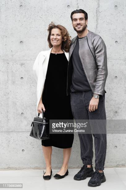 Roberta Armani and Giuseppe Vicino attend the Emporio Armani fashion show during the Milan Fashion Week Spring/Summer 2020 on September 19, 2019 in...