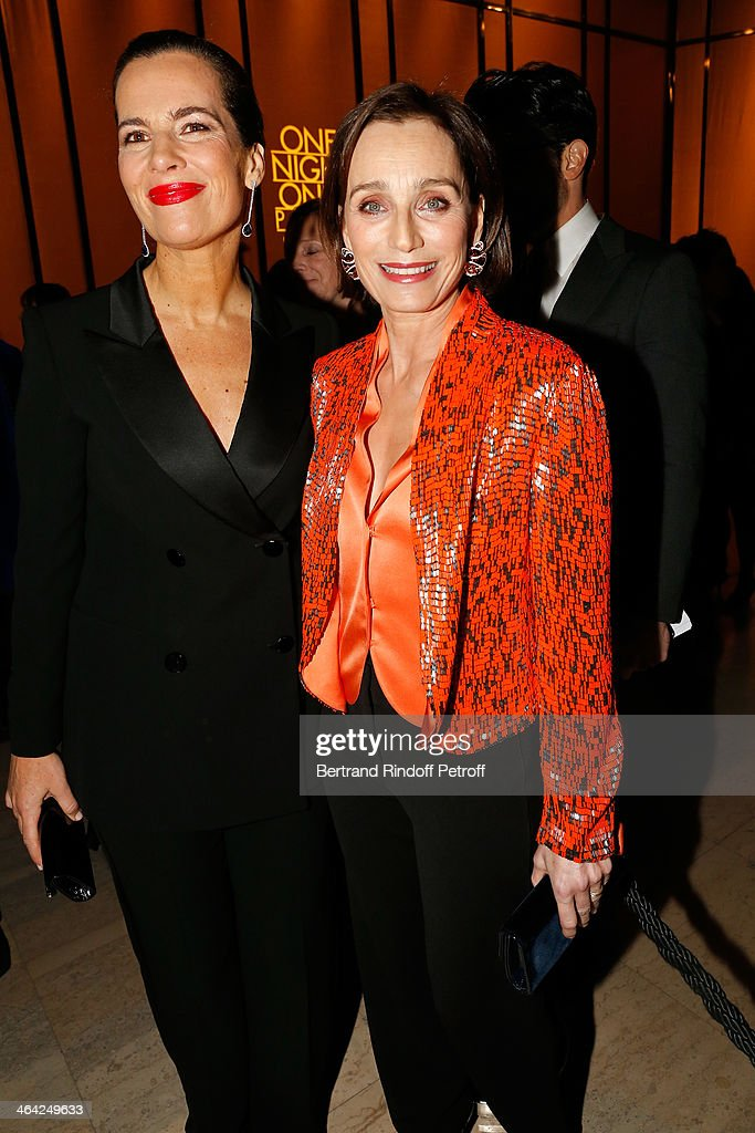 Roberta Armani and Kristin Scott Thomas attend the Giorgio Armani Prive show as part of Paris Fashion Week Haute Couture Spring/Summer 2014 on January 21, 2014 in Paris, France.
