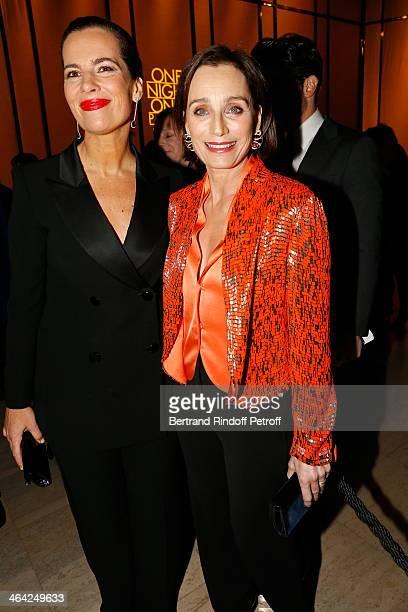 Roberta Armani and Kristin Scott Thomas attend the Giorgio Armani Prive show as part of Paris Fashion Week Haute Couture Spring/Summer 2014 on...