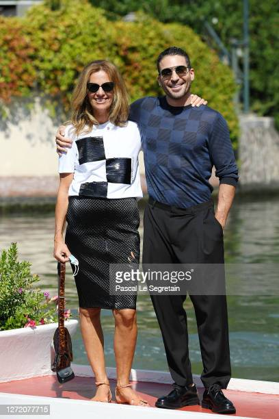 Roberta Armani and Miguel Ángel Silvestre are seen arriving at the Excelsior during the 77th Venice Film Festival on September 12, 2020 in Venice,...