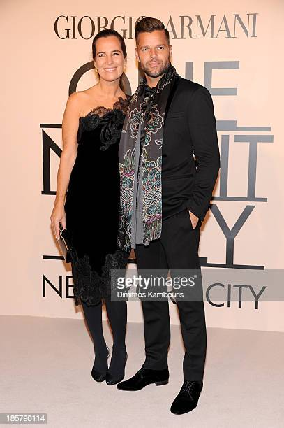 Roberta Armani and singer Ricky Martin wearing Armani attend Giorgio Armani One Night Only NYC at SuperPier on October 24 2013 in New York City