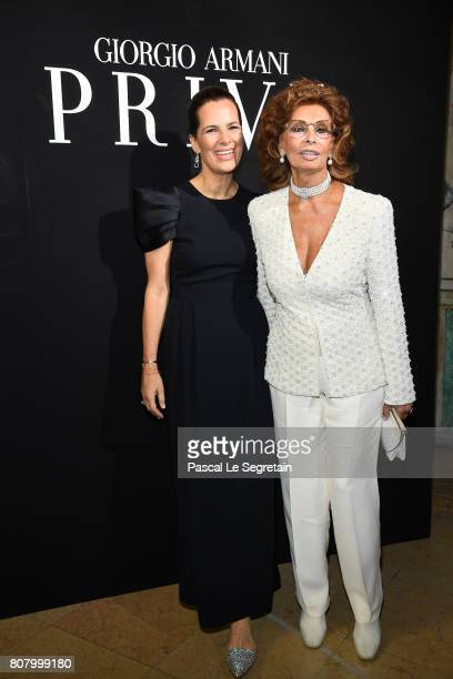 Roberta Armani and Sofia Loren attend the Giorgio Armani Prive Haute Couture Fall/Winter 20172018 show as part of Haute Couture Paris Fashion Week on...
