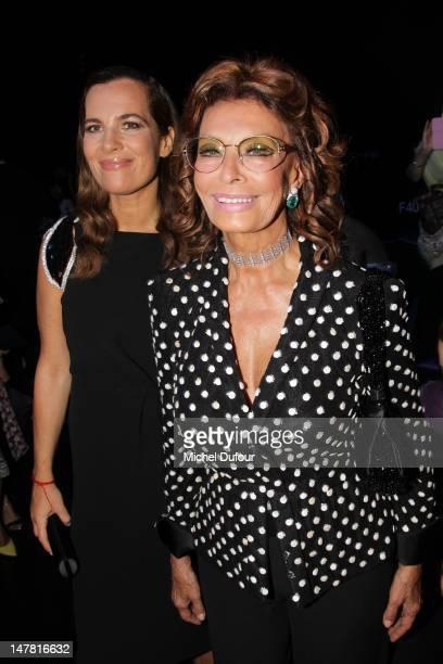 Roberta Armani and Sophia Loren attend the Giorgio Armani Prive HauteCouture Show as part of Paris Fashion Week Fall / Winter 2012/13 at Palais de...