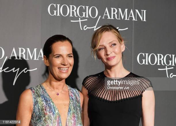Roberta Armani and US actress Uma Thurman arrives at the Giorgio Armani 2020 Cruise Collection on May 24 2019 in Tokyo Japan