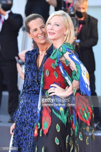 Roberta Armani and Venezia77 Jury President Cate Blanchett walks the red carpet ahead of closing ceremony at the 77th Venice Film Festival on...