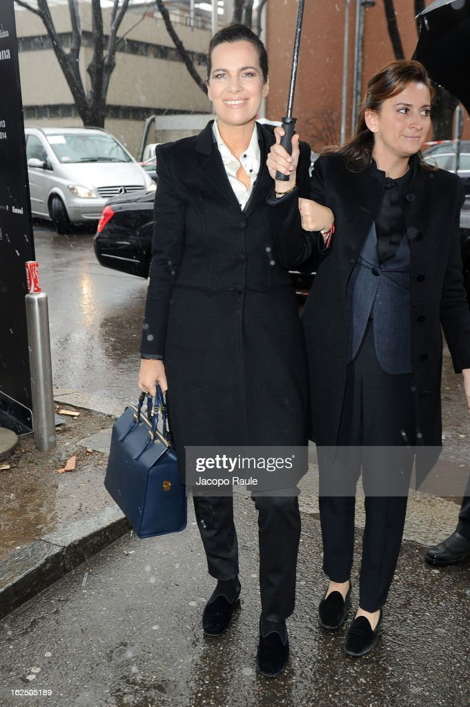 Roberta Armani (L) attends the Emporio Armani fashion show as part of Milan Fashion Week Womenswear Fall/Winter 2013/14 on February 24, 2014 in Milan, Italy.
