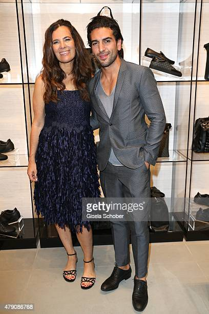 Roberta Armani Elyas M'Barek during the Emporio Armani Sounds event in connection with the reopening of the store on June 30 2015 in Munich Germany