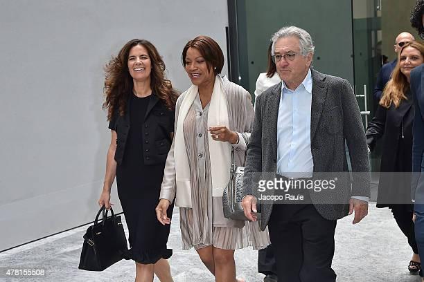 Roberta Armani Grace Hightower and Robert De Niro leave the Armani Silos after the Giorgio Armani show during the Milan Men's Fashion Week...
