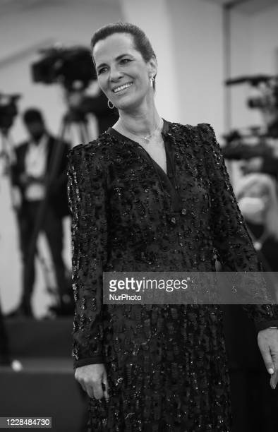Image was converted to black and white) Roberta Armani walks the red carpet ahead of closing ceremony at the 77th Venice Film Festival on September...