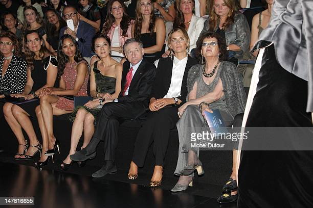 Roberta Armani, Zoe Saldana, Michele Yeoh, Jean Tod, Tatiana Blatnik and Sophia Loren attend the Giorgio Armani Prive Haute-Couture Show as part of...