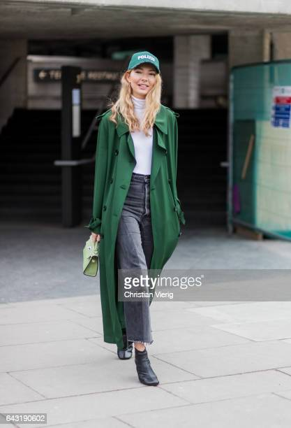 Roberta Benteler wearing a green Polizei cap green coat outside Roland Mouret on day 3 of the London Fashion Week February 2017 collections on...