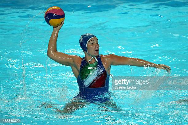 Roberta Bianconi of Italy looks to shoot in the Women's bronze medal match between Australia and Italy on day fourteen of the 16th FINA World...