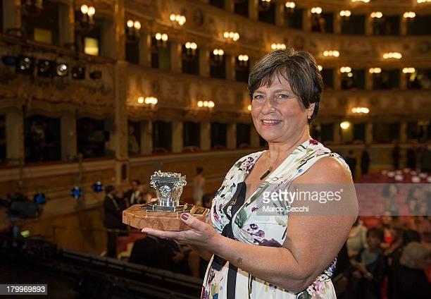 Roberta Bortone Riccarelli collects the Premio Campiello won by her late husband Ugo Riccarelli for L'amore graffia il mondo at La Fenice Theater on...