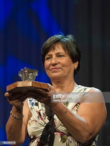 Roberta Bortone Riccarelli collects the Premio Campiello won by her late husband Ugo Riccarelli for 'L'amore graffia il mondo' at La Fenice Theater...