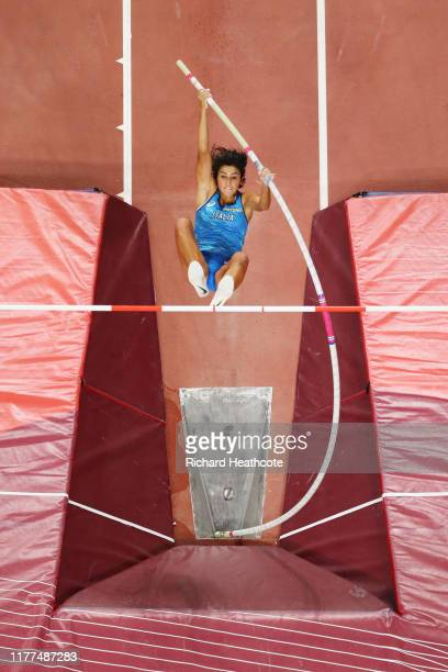 Roberta Bruni of Italy competes in the Women's Pole Vault qualification during day one of 17th IAAF World Athletics Championships Doha 2019 at...