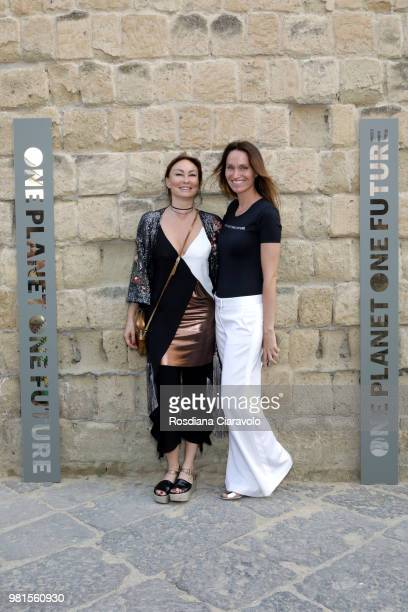 Roberta Corti and Anne de Carbuccia attend One Planet One Future Cocktail Party on June 22 2018 in Naples Italy