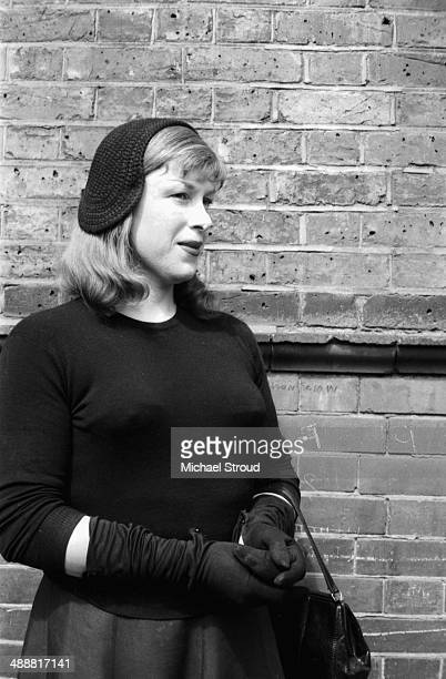 Roberta Cowell posing outdoors, 1958. Cowell, a former racing driver and RAF pilot was the first person to undergo gender reassignment surgery in the...
